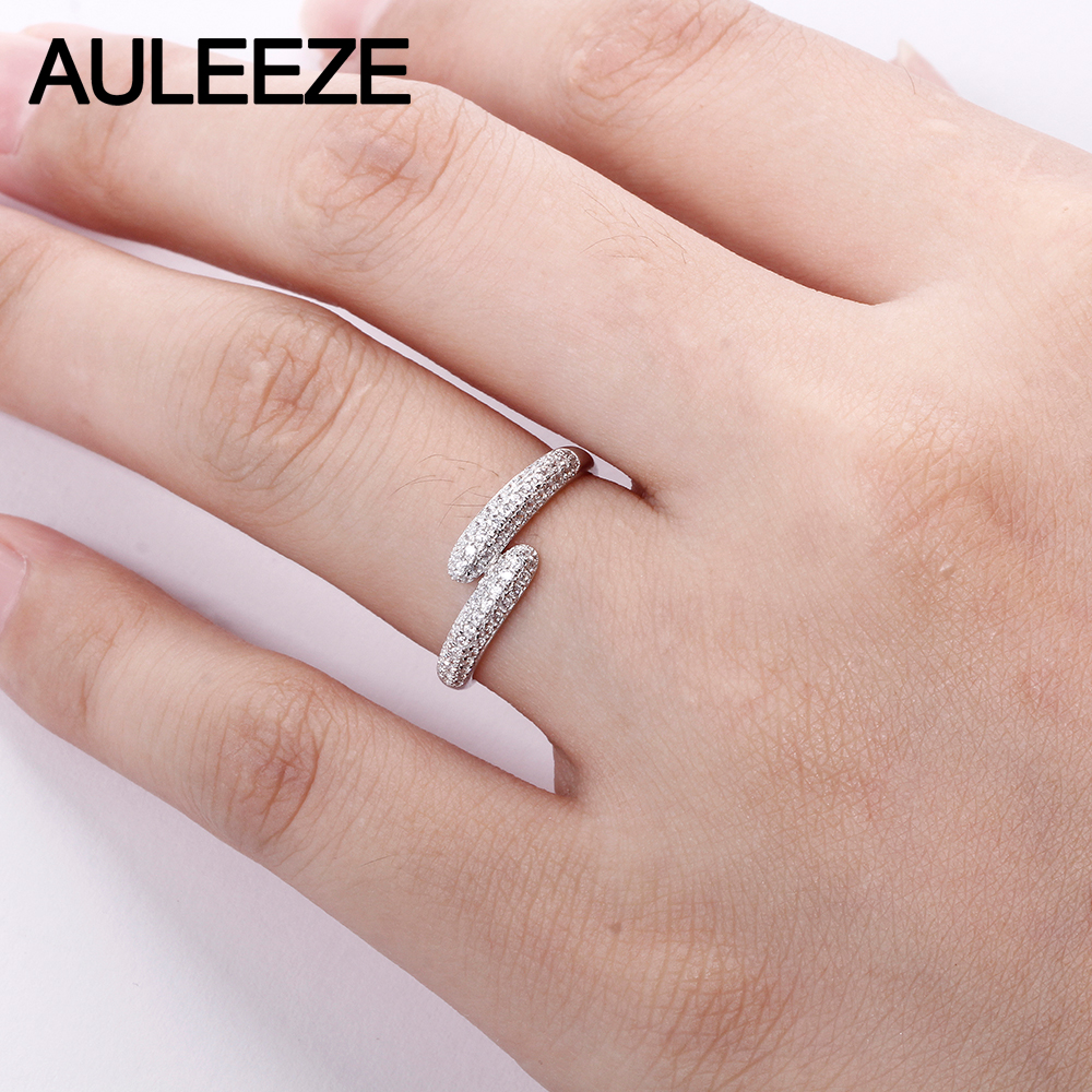 AULEEZE 0.37cttw Certificate Diamond Wedding Band For Women 18K ...