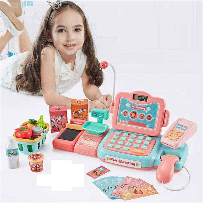 24Psc/set Electronic Supermarket Cash Register Kits Kids Toy Simulated Checkout Counter Role Pretend Play Cashier Shopping Toys-in Groceries Toys from Toys & Hobbies