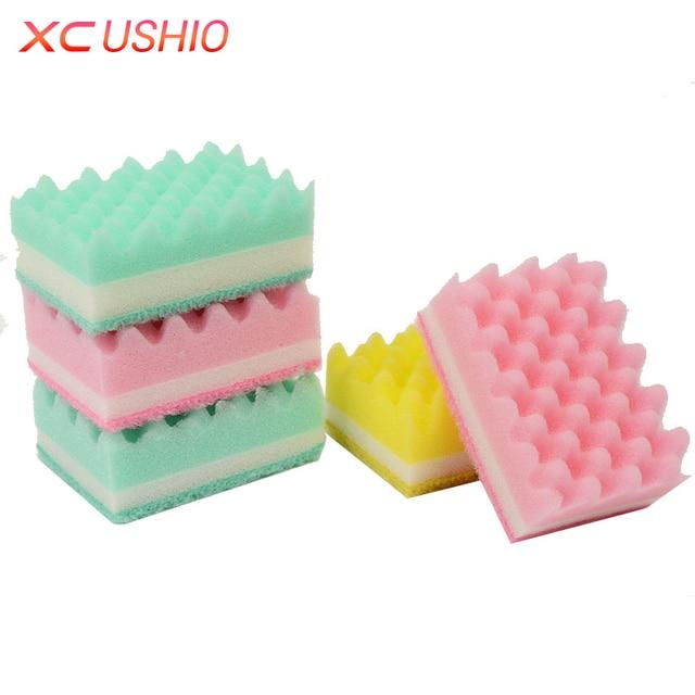 5pcs lot Wave Style Cleaning Sponge Kitchen Double Sided Microfiber Magic  Sponge Eraser Household Wipe 79fc5463d0546