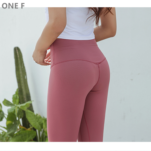 40fc4ce6554f49 ONE F cropped sport leggings with pocket breathable fitness clothing squat pants  high waisted tummy control