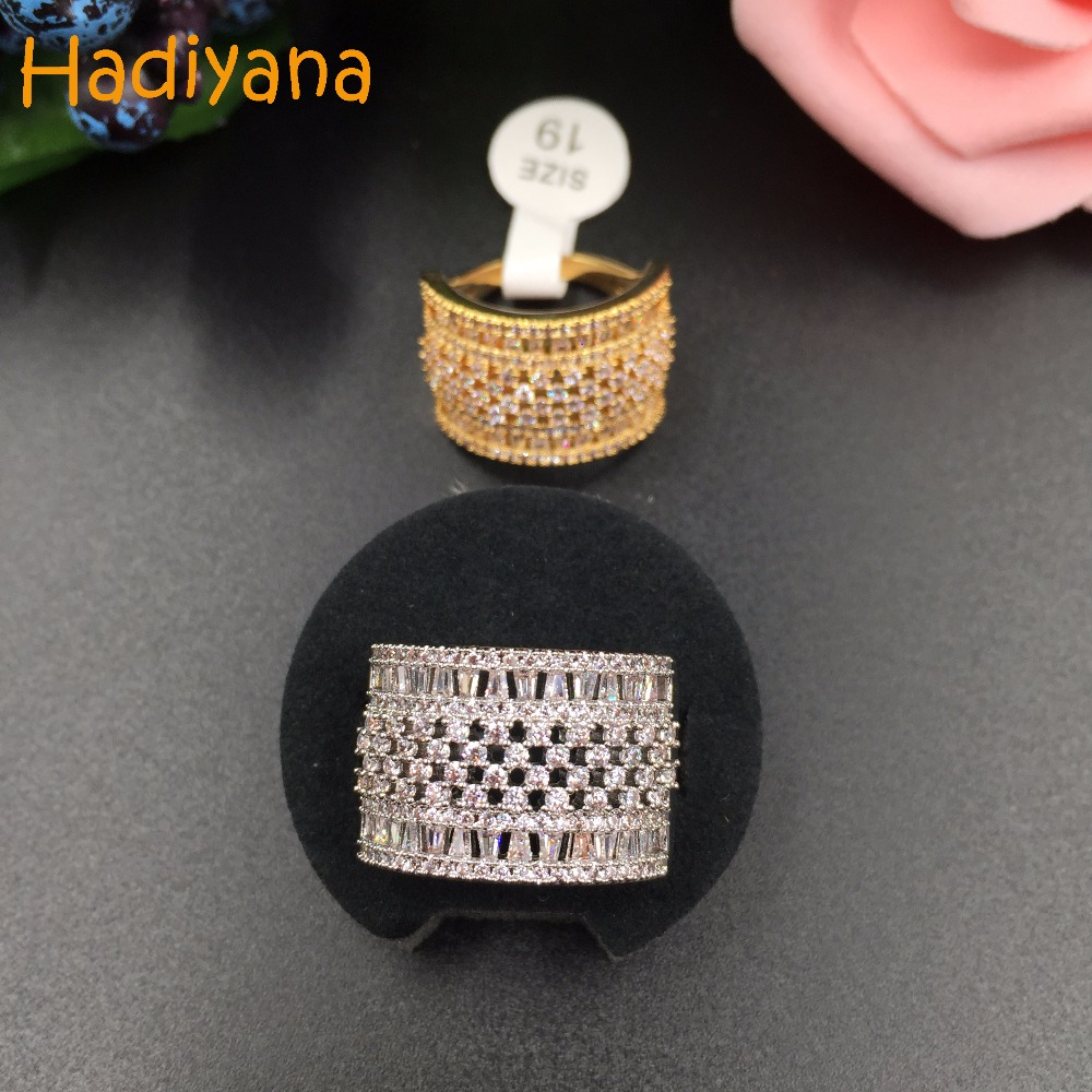 HADIYANA Fashion Cubic Zirconia Micro Pave Setting Multi-layered Clear Stone Big Finger Ring Brilliant Party Accessaries CP221