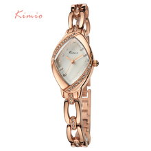 KIMIO Brand High Quality Thin Oval Rhombus Rose Gold Rhinestone Watch Women Crystal Ladies Designer Wrist Watches Dress Quartz