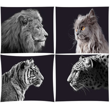 Boho Bohemian Mandala Tapijt Muur Opknoping Leeuw Tigers Strand Mat Animal Party Decoratie Zwarte Achtergrond Fotografie Achtergrond