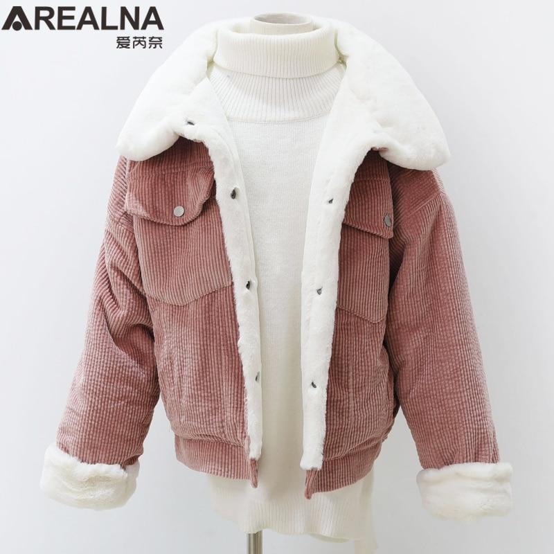 woman Loose Corduroy Jacket Women New Thick Winter lambswool Jackets Ladies Cute Outerwear Coat Warm Parka