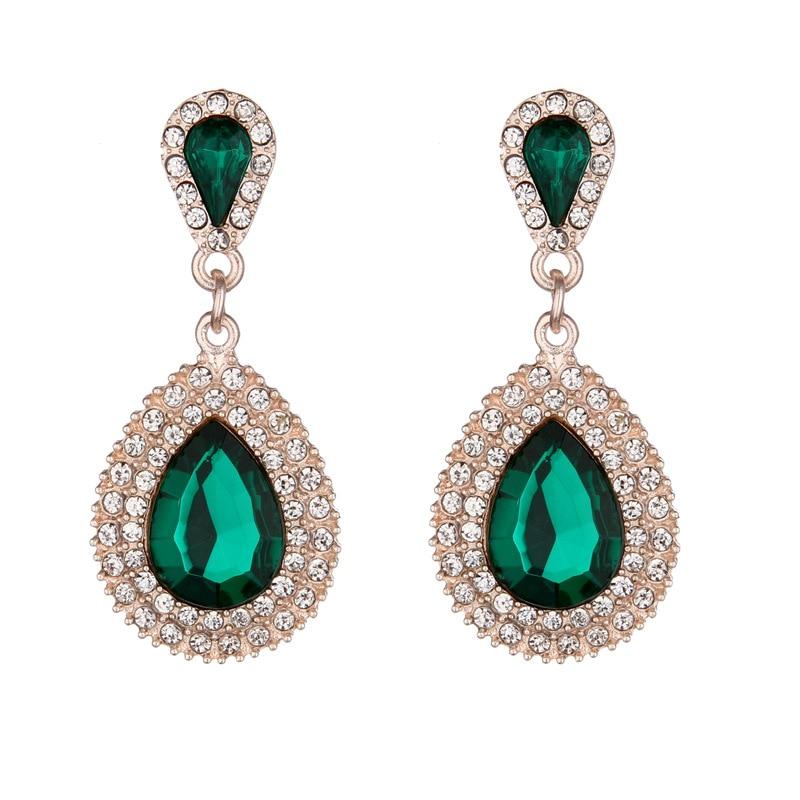 Palace Retro Luxulite Full Drilling Water Drop Rhinestones Female  Earrings Sweet Earrings Long Earrings Crystal Earrings
