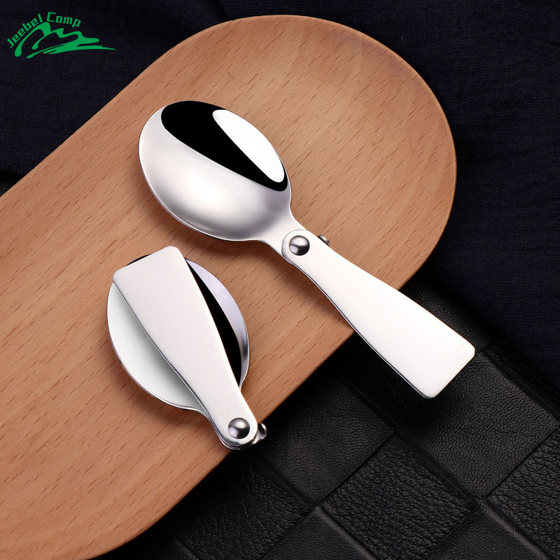 Jeebel Stainless Steel Spoon Picnic Tableware Spoon Outdoor Foldable Camping Hiking Cookout Picnic Folding Cutlery Tool Travel