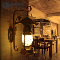 American country living room bamboo wall lights antique vintage kerosene lantern wall lamps personality bedroom bedside lamp