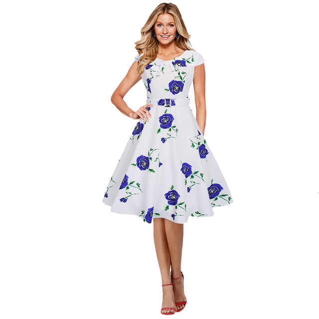 b4581c192c65 2019 Women Retro Summer Dress Vintage Rose Floral Print Rockabilly Party Swing  Dress Purple Blue Red Retro Ladies Dresses