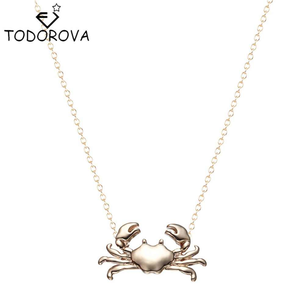 Todorova Maryland Crab Necklace Pendant Chain Collar Cancer Zodiac Cute Ocean Animal Necklaces for Women Jewelry Girls Bijoux