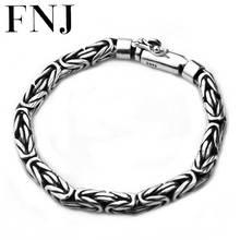Czysta bransoletka ze srebra próby 925 szerokość 5 8mm 17cm do 25cm klasyczny Link Chain S925 Thai srebrne bransoletki dla kobiet mężczyzn biżuteria