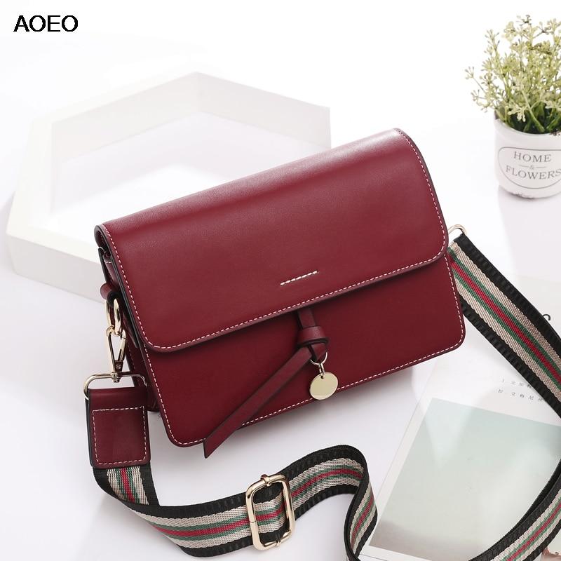 AOEO Magnet Buckle Women Shoulder Crossbody Bag Two Strap Split Leather Summer Woman Fashion Small Messenger