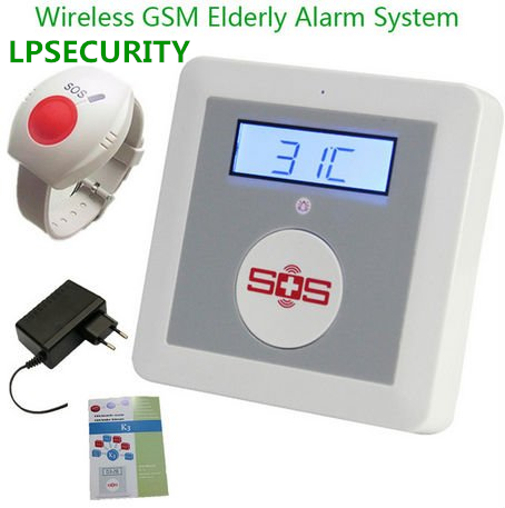 LPSECURITY GSM Senior Telecare, Wireless GSM SMS Home Security Alarm System With LCD Display SOS Call For Elderly Care