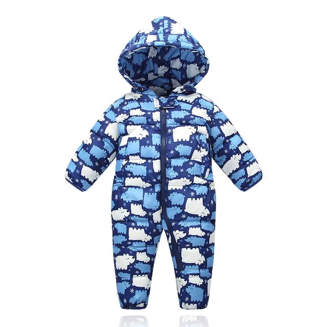 2016 Nueva 9 m-18 m del bebé niñas niños Invierno mameluco infantil del mameluco del traje de esquí engrosamiento mono de plumas bebé invierno ropa de abrigo