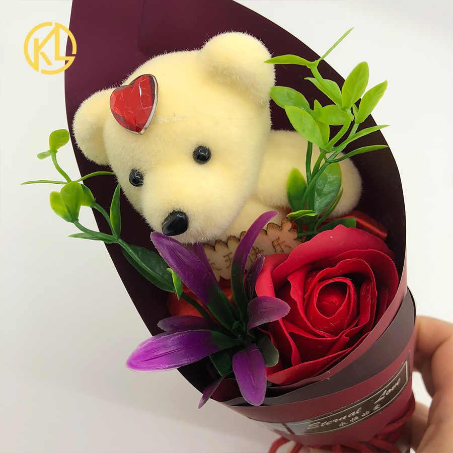 Rose Xà Phòng Hoa Bouquet Với Đẹp Gấu Nhân Tạo Flower Heads trong Hộp Quà Tặng Cho Valentine của Ngày Cưới Món Quà Sinh Nhật