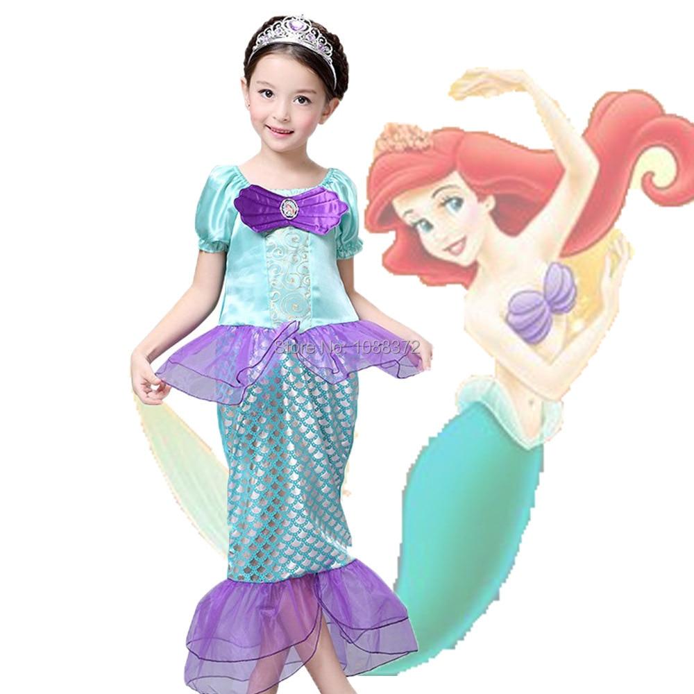 Kids Girl Cosplay Dress,Baby Girl The Little Mermaid Ariel Princess Costume,Kids Perform Clothes,vestidos de verao hot sell fashin wigs mermaid wig adult princess ariel red wavy cosplay costume big