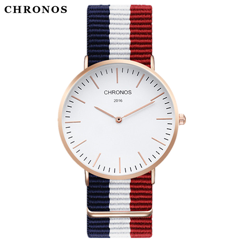 Brand CHRONOS Watches Men Women Quartz Watch Rose Gold Nylon Male WristWatch Clock Saat Relojes Mujer Relogio Masculino Hodinky cartoon gold horse print blue leather strap sports ladies quartz watch relojes hombre 2017 bayan saat women watches hodinky b133