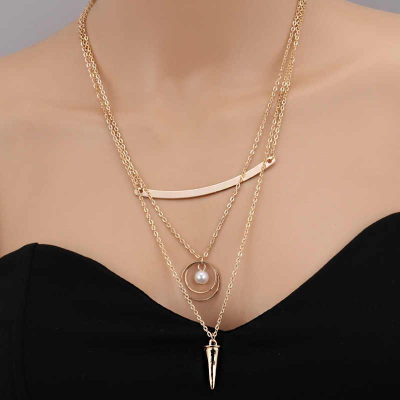 Seblasy מכירה לוהטת רב שכבתי עלים ירח חמסה יד מדומה פרל לב שרשרת שרשראות & תליונים לנשים מתנות אבזרים