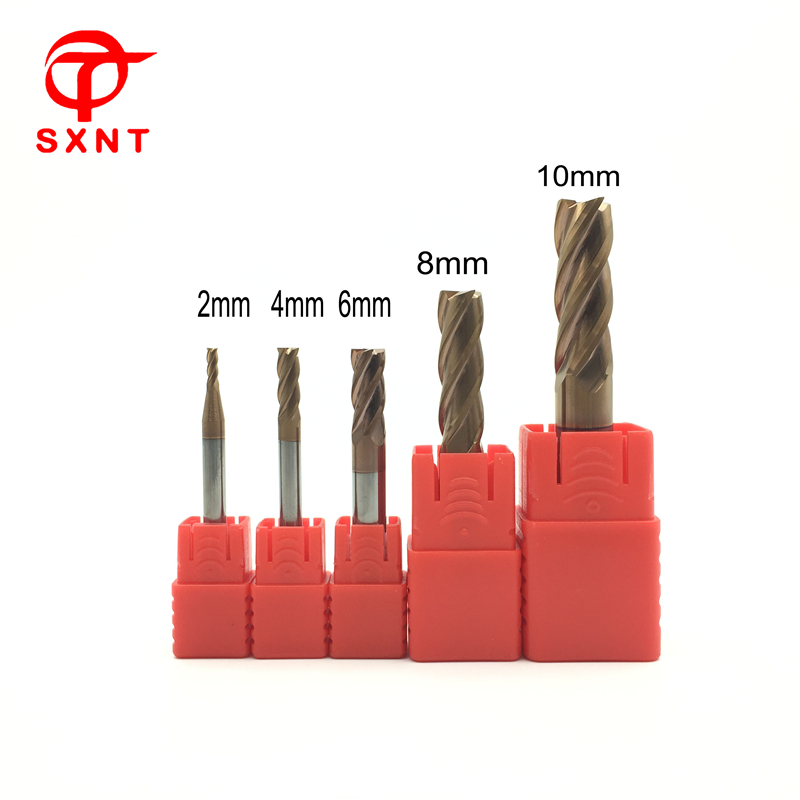 SXNT CNC Tool/Cutter 5Pcs/set 2 4 6 8 10mm 4Flute HRC55 Solid Carbide End Mill Coated ALTIN,Milling Cutter For Metal Cutting 10pcs box 1 8 inch 0 8 3 17mm pcb engraving cutter rotary cnc end mill 0 8 1 0 1 2 1 4 1 6 1 8 2 0 2 2 2 4 3 17mm