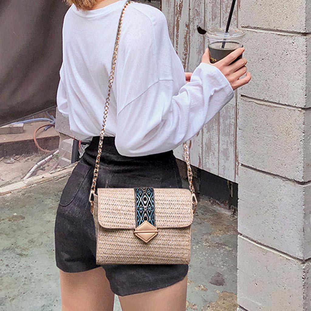 2019 New Square Straw Bags Women Summer Rattan Bag lady Handmade Woven Beach Cross Body Bag Bohemia Handbag Bali travel vocation