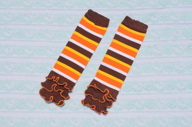 baby orange brown striped ruffle leg warmers girls boy halloween leg warmer socks fashion knee pads