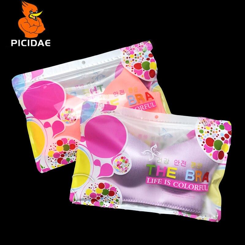 Janela transparente de Impressão Padrão de Furo de Suspensão Dedicado Cartilagem de Roupas Embalagem Saco Plástico Com Zíper Ziplock Underwear Bra