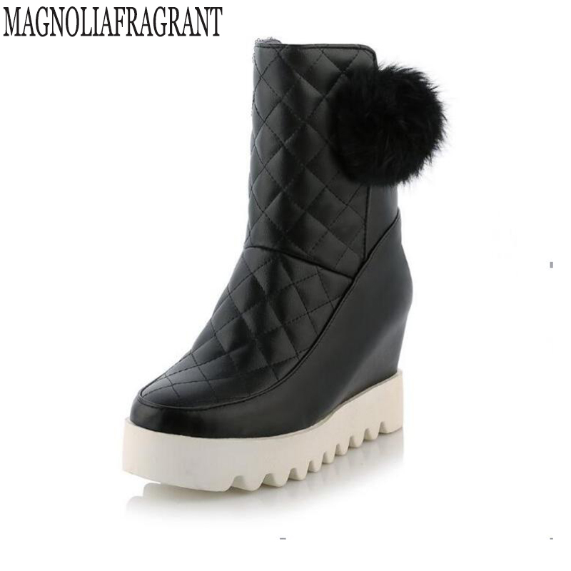 Winter Women Shoes ankle boots for women Female Elevator Flat Snow Boots Platform Cotton-padded Shoes  botas mujer k372 2016 rhinestone sheepskin women snow boots with fur flat platform ankle winter boots ladies australia boots bottine femme botas