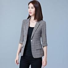 Spring and Autumn Female Short Suit Temperament Seven-Sleeve Sleeve Slim Leisure Suit Plaid Top