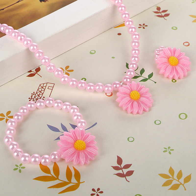 Friendly Resin Infant Nice Baby Flower Necklace Bracelet  Finger Ring Set Kids Jewelry Set Children Accessories Handmade