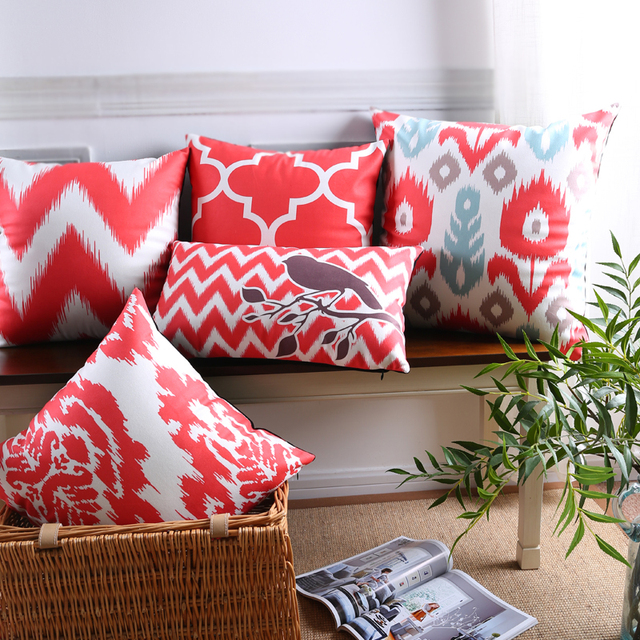 throw pillows for living room couch chinese scandinavian decorative case geometric cushion cover home decor velvet red pillowcase sofa