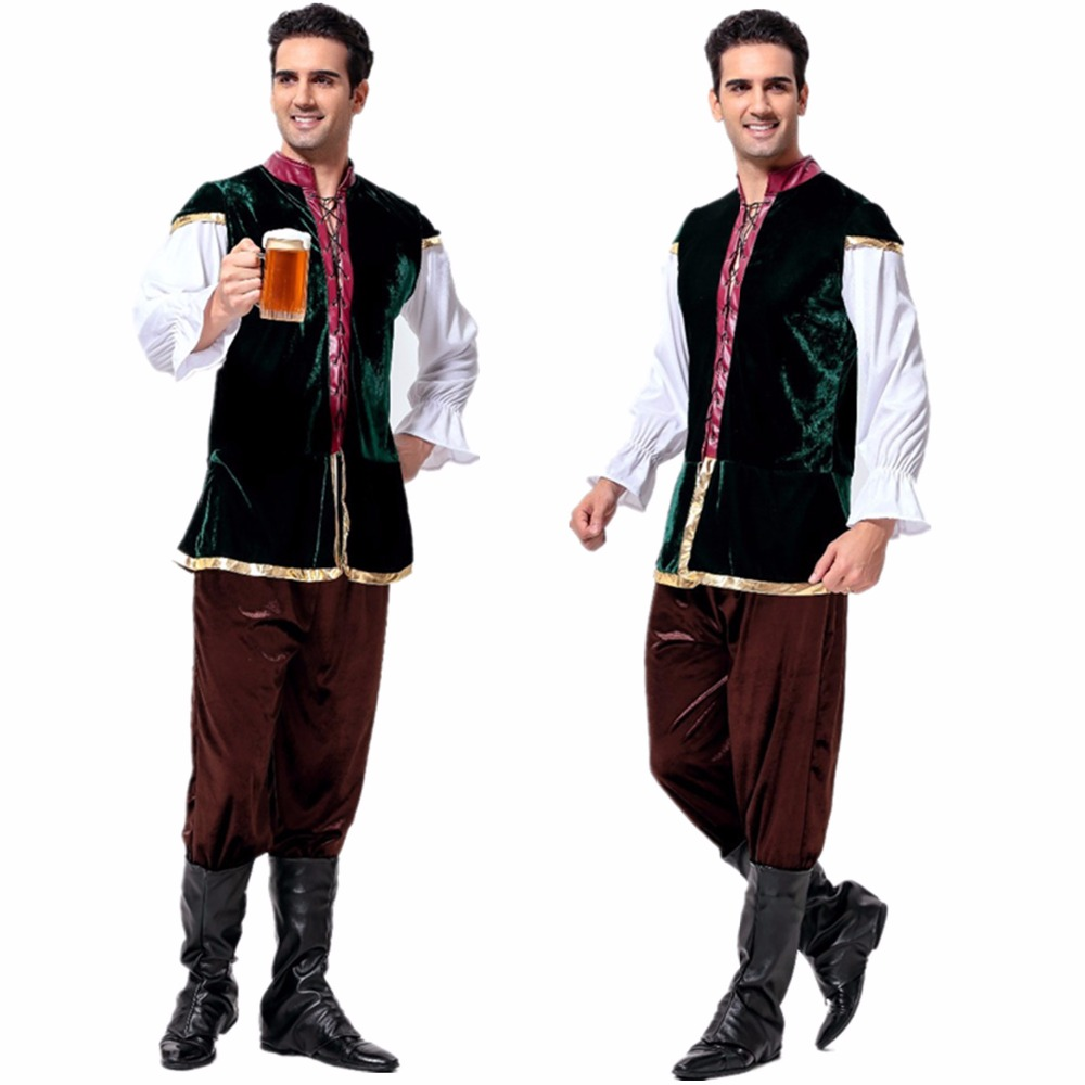 Adulti Costumi Tavern Rinascimento Medievale Costume Bavarese della Birra Oktoberfest Beer Festival Costume Mens carnevale Cosplay Costume