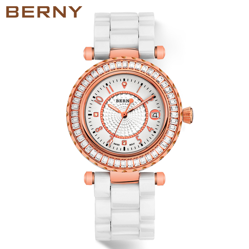 BERNY Rose Gold Vit Keramiska Diamond Kvinnor Klockor Ladies Luxury - Damklockor