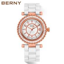 купить BERNY Rose Gold White Ceramic Diamond Women Watches Ladies Luxury Brand Crystal Fashion Quartz Wrist Watch Female Dress Watch дешево