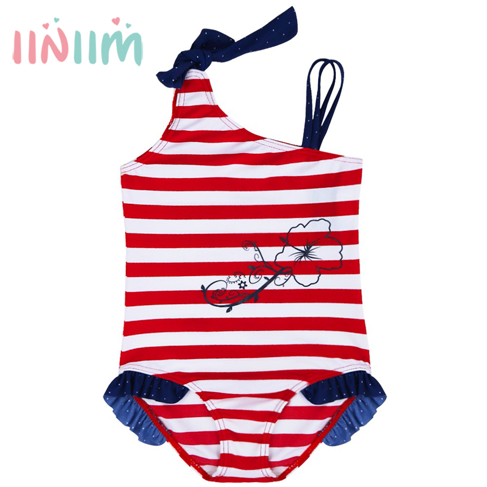 Hot Brand Lucky Flower Pattern Kids Baby Girls One Piece Striped Swimsuit Swimwear Bathing Suit Children's Clothes SZ 1-8Y