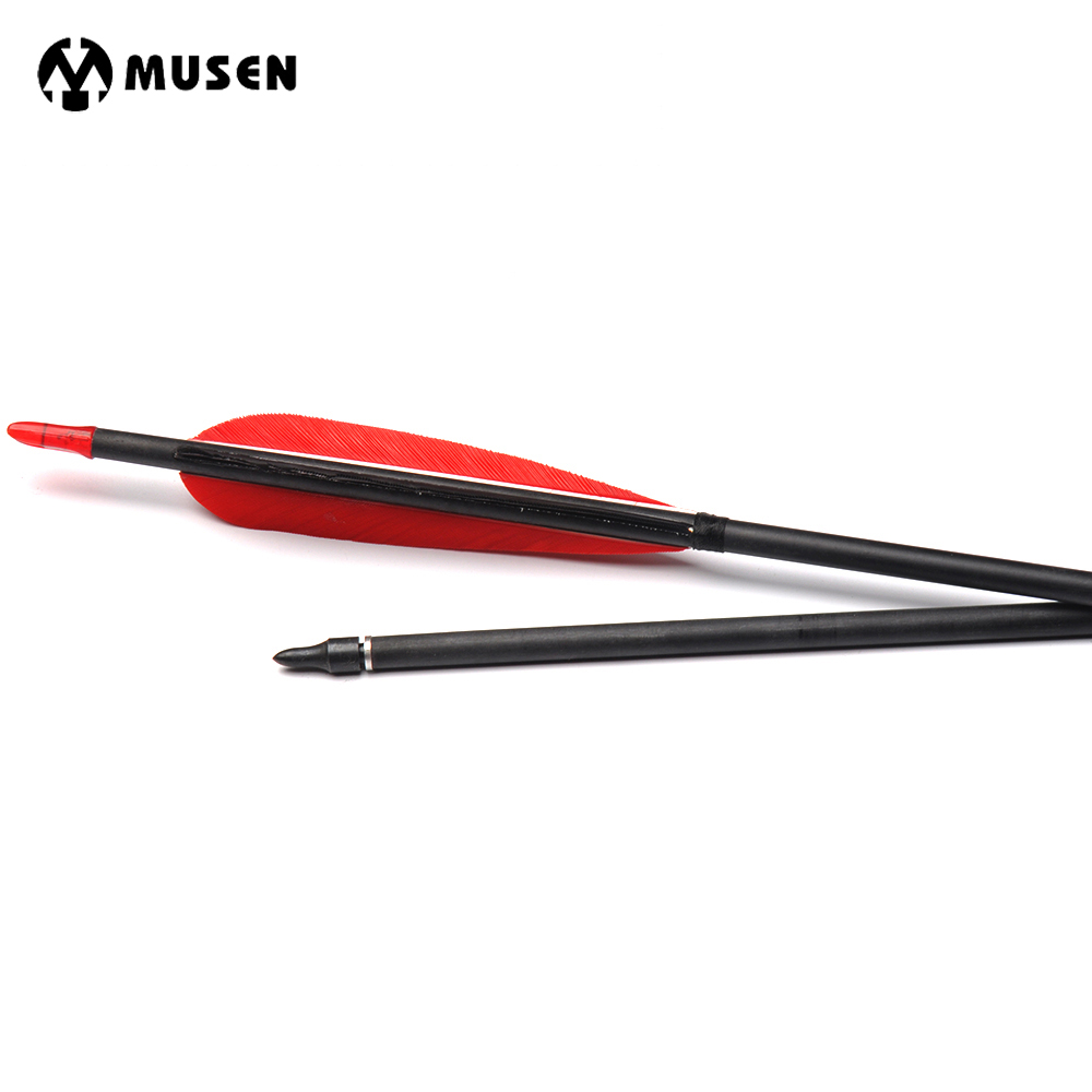 6/12/24pcs 80cm Spine 500 Carbon Arrow with 2 Red 1 Black Turkey Feathers for Archery Training Shooting Hunting Target