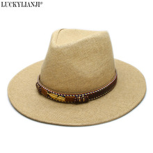 LUCKYLIANJI Women s Men s Unisex s Adjustable Classic Straw Sun Beach Wide  Brim Panama Hat Leaf Leather Band 2cad998905cf
