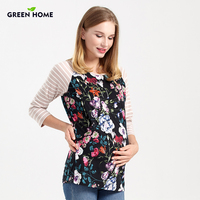 Green Home Spring Breastfeeding Tops Modal Pregnancy Thickening Embroidered Maternity Clothing Print Patchwork T Shirt Wearing