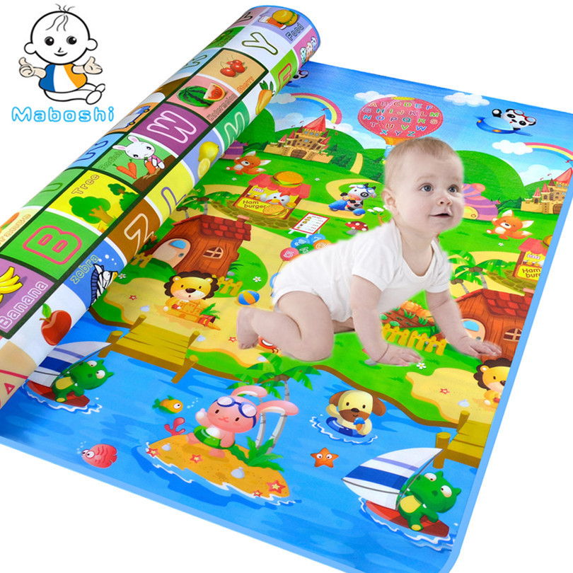 New Arrivel Doulble-Site Baby Play Mat 2*1.8 Meter Fruit Letters And Happy Farm Child Beach Mat Picnic Carpet Baby Crawling Mat plaid