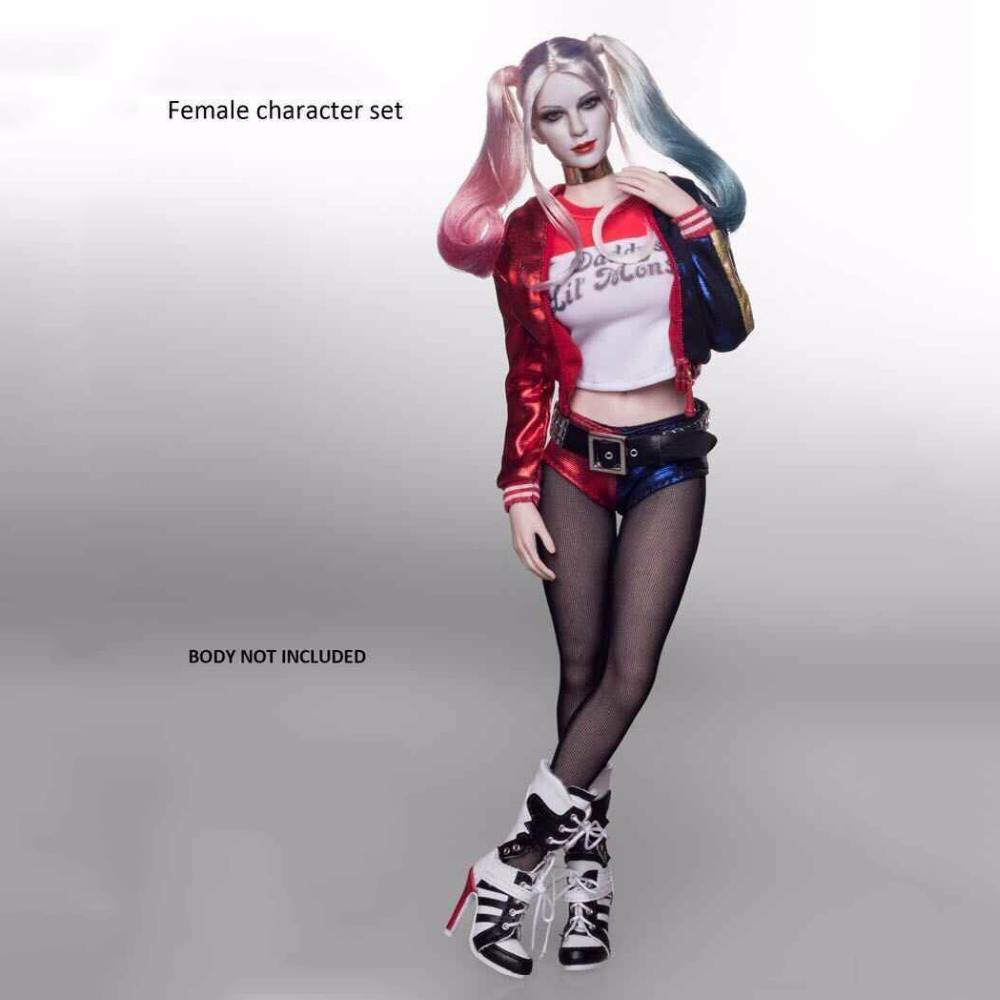 Female Character Set Clothes 1:6 Scale Suicide Squad Joker Harley Quinn Suits & Head Toy Fit for 12 '' body Figure Accessories hot suicide squad messenger bags for students harley quinn school bags for girls funny joker printing rucksacks children mochila