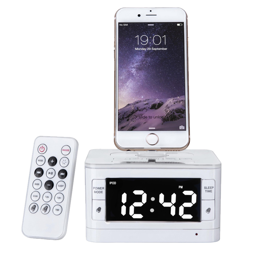 lcd digital fm radio alarm clock music dock charger station bluetooth stereo speaker portable. Black Bedroom Furniture Sets. Home Design Ideas
