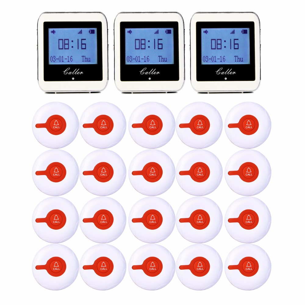 999CH Restaurant Pager Wireless Calling System 20pcs Call Transmitter Button+3pcs Watch Receiver 433MHz Catering Equipment F3288 999ch restaurant pager wireless calling system 35pcs call transmitter button 4 watch receiver 433mhz catering equipment f3285c