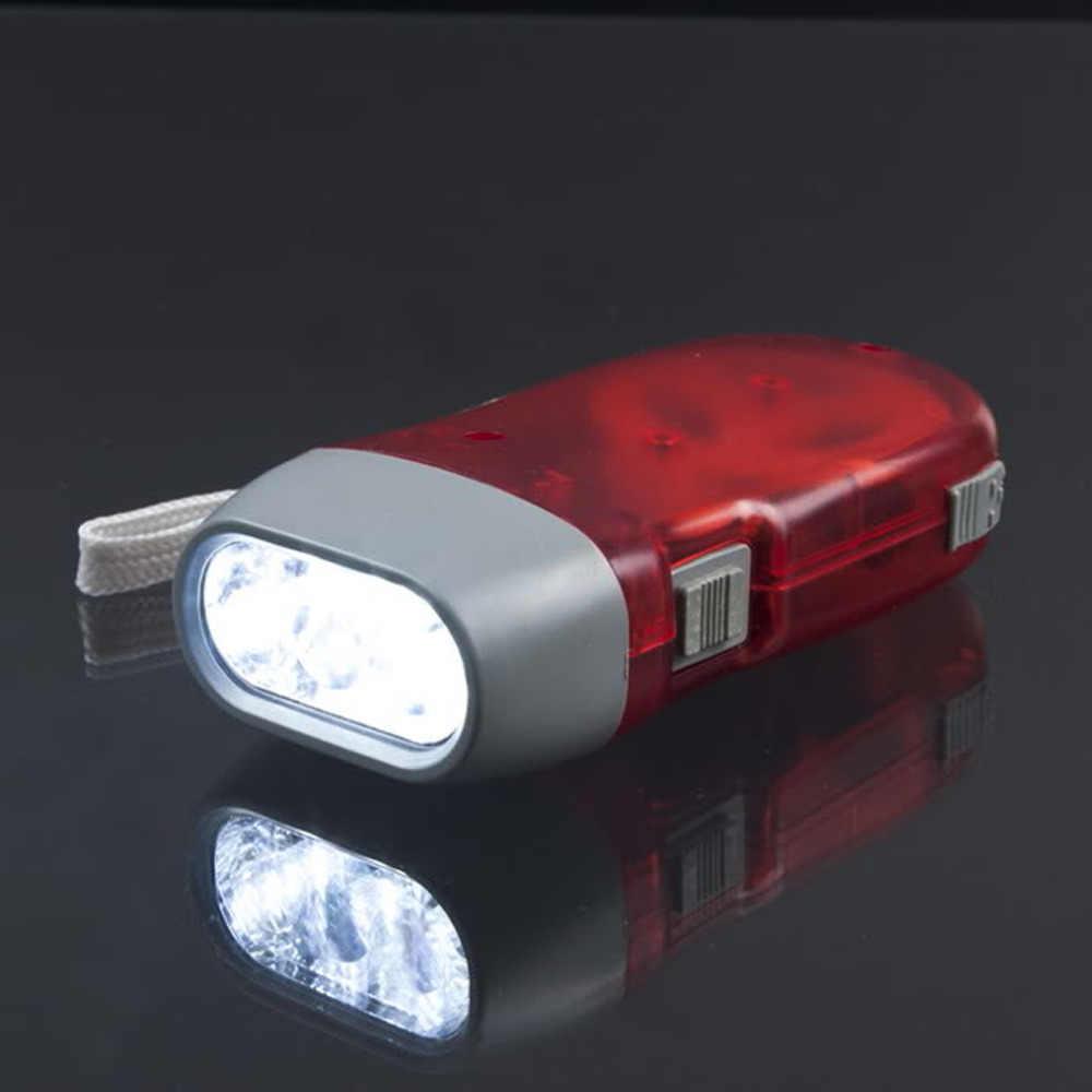 Nova 3 LED Mão Pressionando Dynamo Wind Up Mão Lanterna Tocha Luz Imprensa Crank Poder Crank Camping Lâmpada Luz