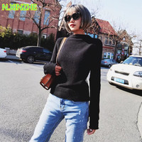 2018 women clothing long sleeve mesh spliced diamonds solid sweaters knitted pullovers Female fashion sexy see through Tops 1687