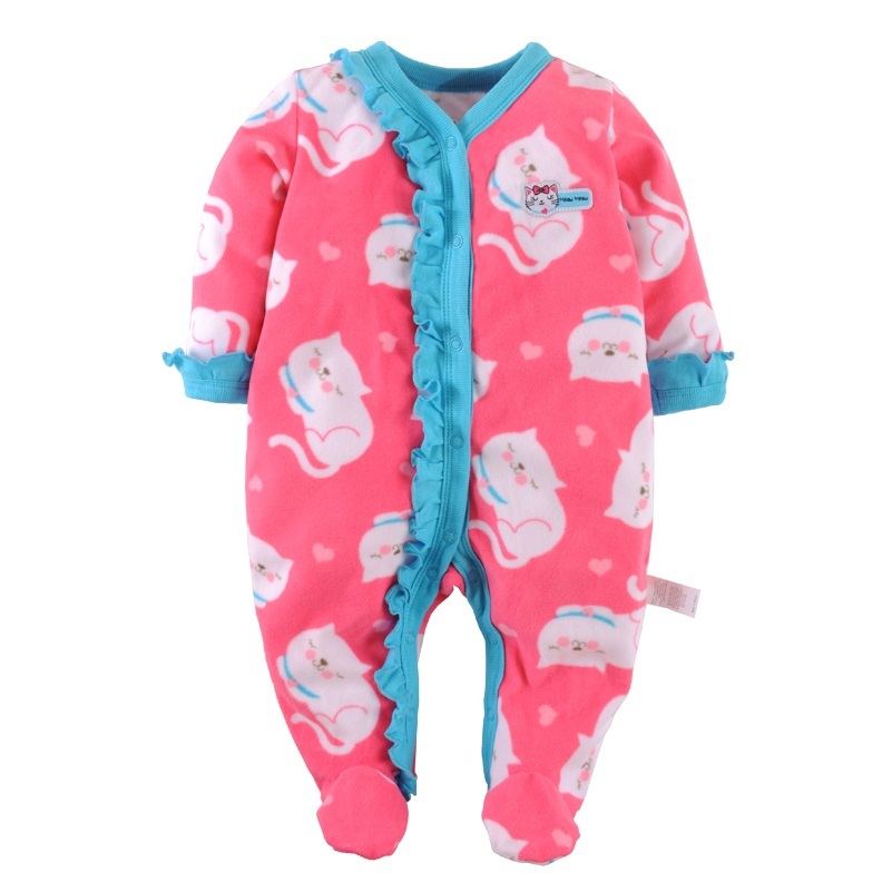 2017 Spring Baby Girls Rompers Fleece Foot Cover Cotton Bebe Ropa Long Romper Pajamas Sleepwear Soft Comfortable Baby Clothes newborn baby rompers baby clothing 100% cotton infant jumpsuit ropa bebe long sleeve girl boys rompers costumes baby romper