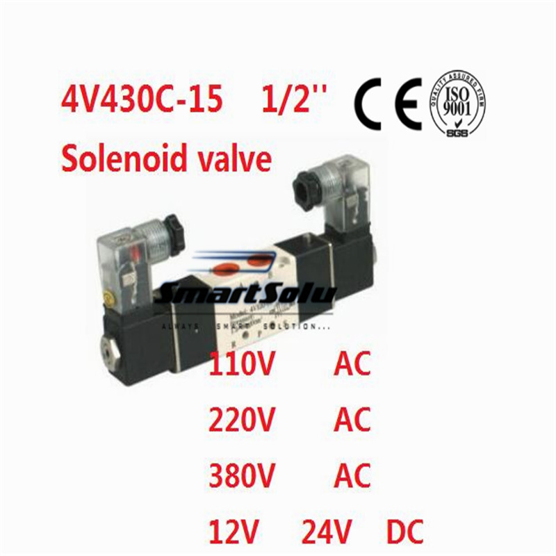 Free shipping solenoid valve 4V430C-15 two coil 1/2 BSP AC110V 5/3 way electric control valve Plug with red Indicator light mpc080 solenoid valve series coil electrical solenoid valve coil ac110v voltage lead type valve coil sanmin