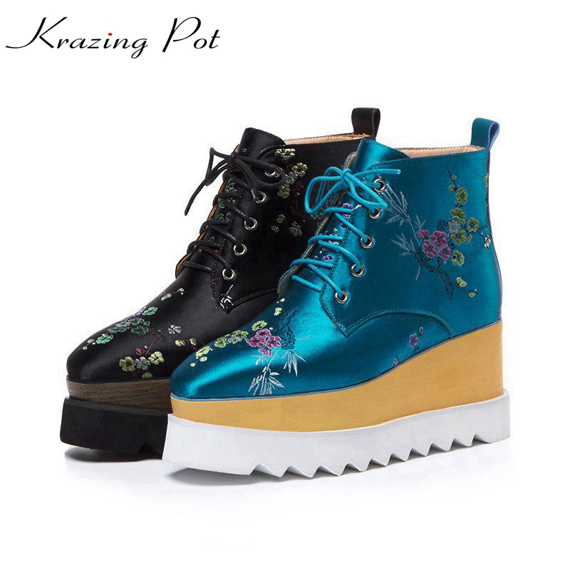 Krazing Pot 2018 new arrival silk embroidery oriental fashion winter lace up boots classic wedges runway women ankle boots L31 krazing pot new arrival pointed toe thick heel fashion chelsea boots runway winter shoes classic women rivets ankle boots l33