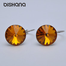 14mm Mix Color Elegant Australia Crystal Drop Earrings Gold-Color Gorgeous Dangle Earrings(E0998-1A)(China)