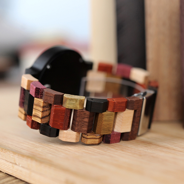 Bobo Bird Wooden Colorful Week Date Display Unisex Quartz Watches 3