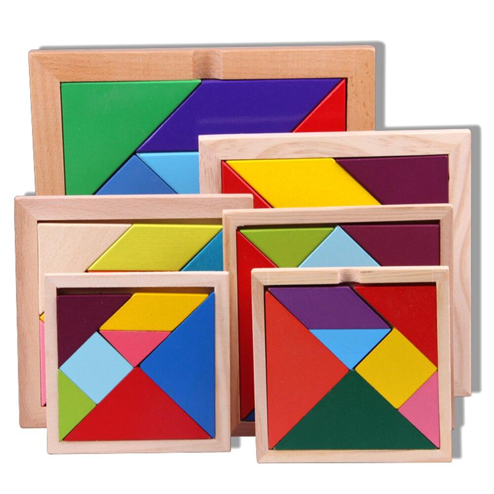 7 шт. DIY головоломки квадратный игрушки детские деревянные развивающие игрушки Геометрические головоломка Танграм игрушки для детей деревя...