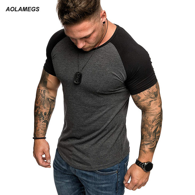 f267d66333a Aolamegs T-shirt Men Short Sleeved Casual Irregular texture T shirts Fashion  Simple Style Male Street Leisure Tops Summer Tee
