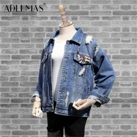 The New Denim Jacket Female BF Wind Loose Long Sleeved Big Yards Spring Student Women S